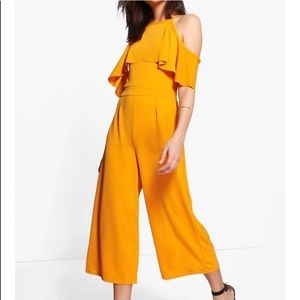 NWT BooHoo Cold Shoulder Culottes Jumpsuit Yellow
